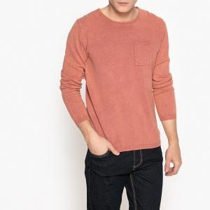 Пуловер с круглым вырезом и нагрудным карманом La Redoute Collections. Цвет: розовый,синий