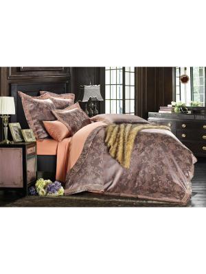 Комплект постельного белья ,евро  4нав.,сатин-жаккард Jardin. Цвет: фиолетовый, бледно-розовый