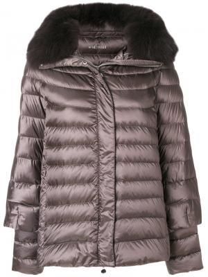 Куртка-пуховик с меховой отделкой Hetregò. Цвет: серый