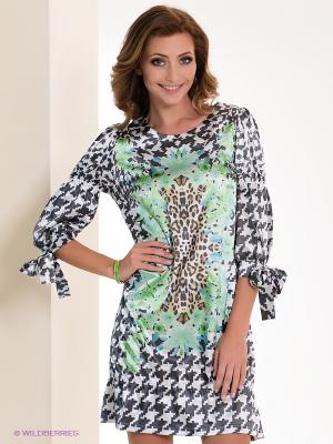 Платье Dino Chizari. Цвет: темно-серый, светло-коричневый, белый, зеленый