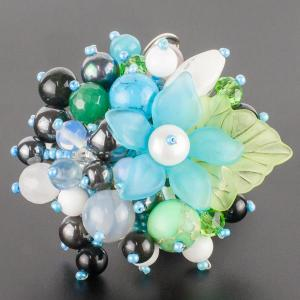 Брошь Флоренсия самоцветы, пластик, арт. бшС-2916 Бусики-Колечки. Цвет: голубой