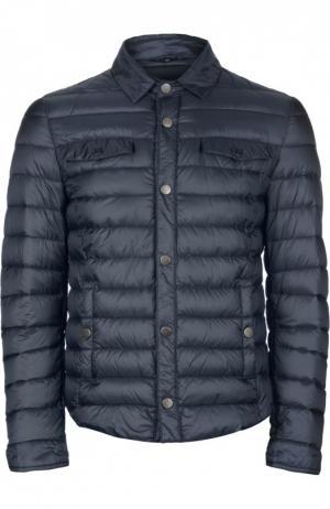 Стеганая пуховая куртка [C]Studio. Цвет: темно-синий
