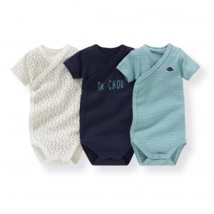3 боди для новорожденных из биохлопка 0 мес-3 лет R mini. Цвет: синий + синий рисунок + синяя полоска