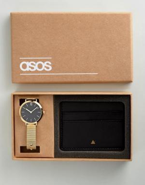ASOS Подарочный набор из кожаной визитницы и часов с сетчатым ремешком. Цвет: золотой