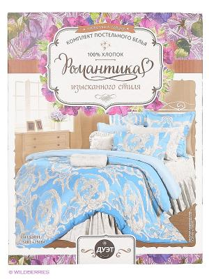 Постельное белье Романтика. Цвет: голубой, серый