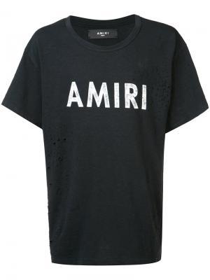 Destroyed effect logo T-shirt Amiri. Цвет: чёрный