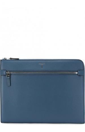 Кожаная папка для документов с внешним карманом на молнии Serapian. Цвет: голубой