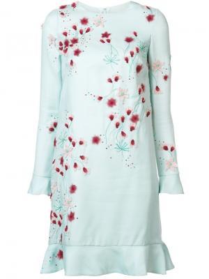 Платье с цветочной аппликацией Monique Lhuillier. Цвет: синий