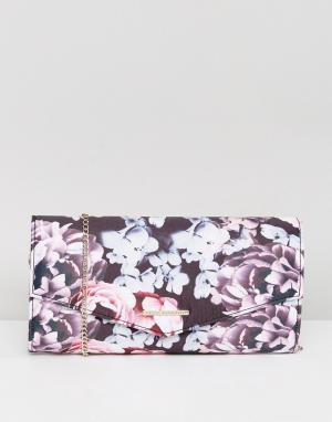 Lipsy Сумка-клатч с цветочным принтом. Цвет: мульти