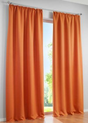 Портьера Уни (1 шт.), гофрированная тесьма (оранжевый) bonprix. Цвет: оранжевый