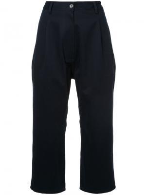 Широкие укороченные брюки Studio Nicholson. Цвет: синий