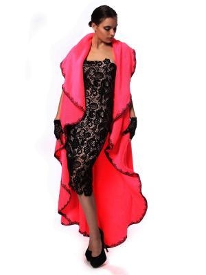 Халат безразмерный  мягчайший Розовый с обработкой кружевом ресничками + пояс в комплекте SEANNA. Цвет: розовый