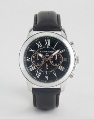 Racing Green Черные часы с декоративными циферблатами. Цвет: черный