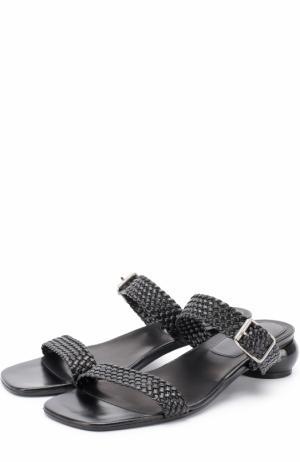 Кожаные сандалии на фигурном каблуке Dries Van Noten. Цвет: черный
