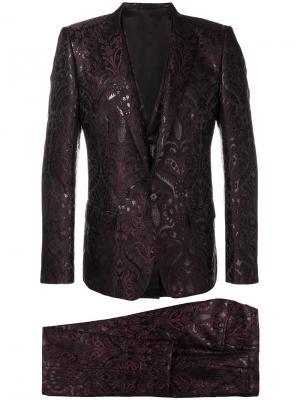 Жаккардовый костюм-тройка Dolce & Gabbana. Цвет: розовый и фиолетовый