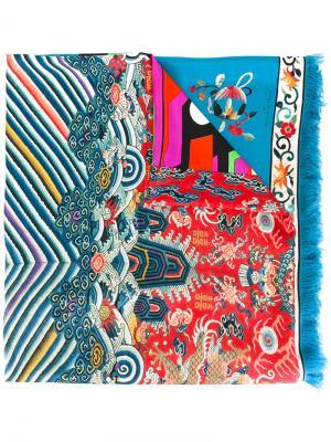 Полосатый шарф Pierre-Louis Mascia. Цвет: синий