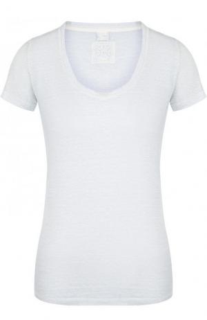 Однотонная льняная футболка с круглым вырезом 120% Lino. Цвет: голубой