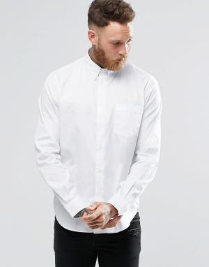 PS by Paul Smith Белая оксфордская рубашка классического кроя с карманом. Цвет: белый