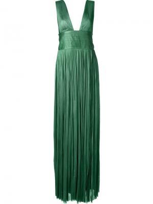 Длинное платье с глубоким V-образным вырезом Maria Lucia Hohan. Цвет: зелёный