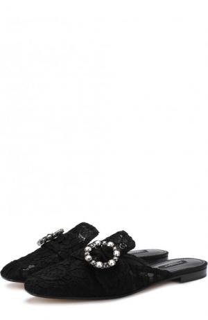Парчовые сабо с пряжкой Dolce & Gabbana. Цвет: черный