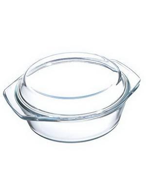 Кастрюля жаропрочная с крышкой, стекло, 23х20х9,5см, 1,4л Satoshi. Цвет: белый