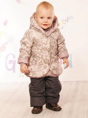 Комплект (куртка, ПК) демисезонный для девочки Злата GooDvinKids. Цвет: коричневый, розовый