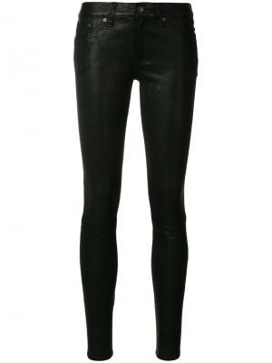 Кожаные брюки скинни Rag & Bone. Цвет: чёрный