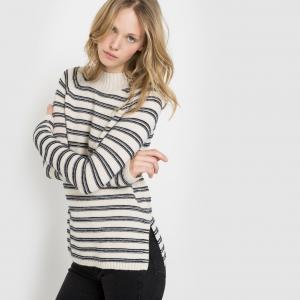 Пуловер с высоким матросским воротником La Redoute Collections. Цвет: в полоску экрю/темно-синий