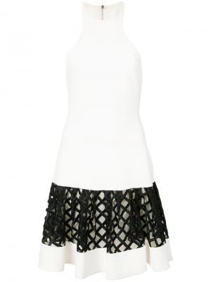 Платье без рукавов с сетчатой панелью David Koma. Цвет: белый