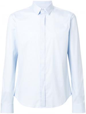 Рубашка с потайной застежкой Wooyoungmi. Цвет: синий