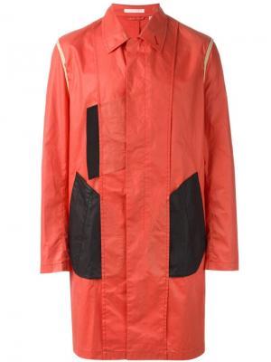 Пальто дизайна колор-блок Helmut Lang Vintage. Цвет: красный