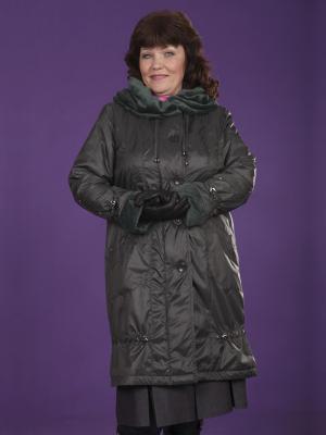 Пальто Грация VIKO. Цвет: темно-зеленый