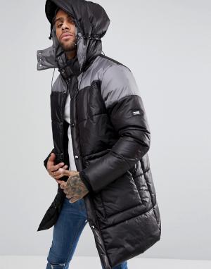 Puffa Дутое пальто длиной 3/4. Цвет: черный