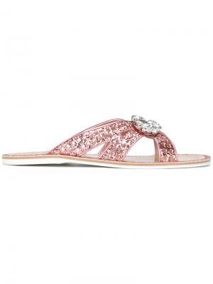 Шлепанцы с блестками Car Shoe. Цвет: розовый и фиолетовый