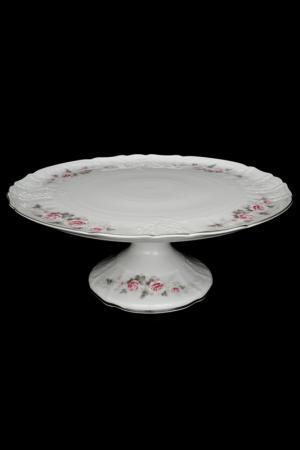 Тарелка для торта на ножке Bohemia. Цвет: белый, розовый, платиновый