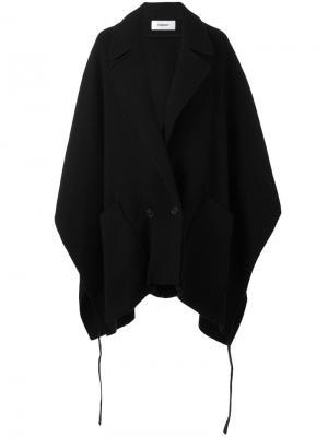 Двубортное пальто-пончо Chalayan. Цвет: чёрный