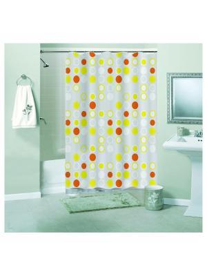Штора для ванной комнаты 180х180см, Пузыри, PEVA NIKLEN. Цвет: оранжевый, белый, желтый