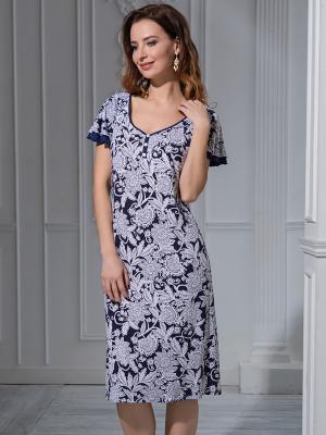 Ночная сорочка MIA-MELLA. Цвет: темно-синий, белый