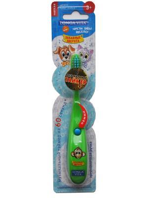 Детская зубная щётка музыкальная, ЗАБАВНЫЕ ЗВЕРЯТА Longa Vita. Цвет: зеленый