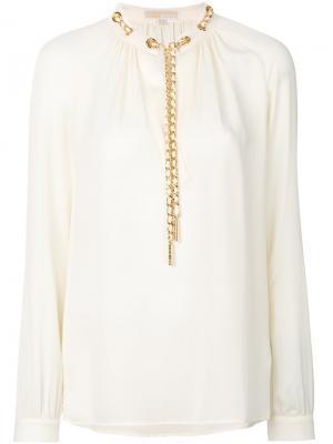 Блузка с декором в виде цепочки Michael Kors. Цвет: белый