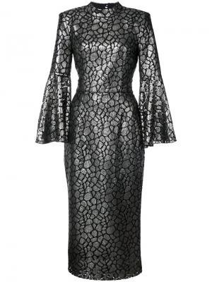 Приталенное платье длины миди Rebecca Vallance. Цвет: металлический