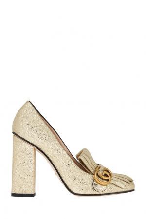 Кожаные туфли Gucci. Цвет: золотой