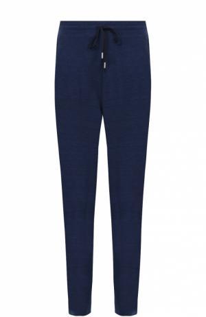Шерстяные брюки прямого кроя с поясом на резинке Canali. Цвет: темно-синий