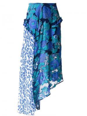 Юбка с цветочным принтом Preen By Thornton Bregazzi. Цвет: синий