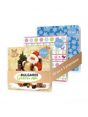 Набор Дед Мороз из 3 упаковок трехслойных салфеток с ярким принтом, 3х20шт Bulgaree Green. Цвет: синий, розовый, кремовый