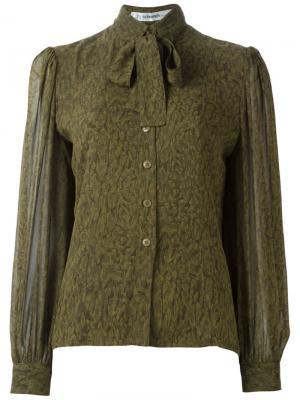 Блузка с бантом Jean Louis Scherrer Vintage. Цвет: зелёный