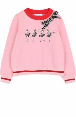 Хлопковый свитшот с декоративной отделкой Simonetta. Цвет: розовый
