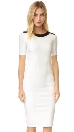 Платье-футляр из джерси понте с контрастной отделкой Ali & Jay. Цвет: белый