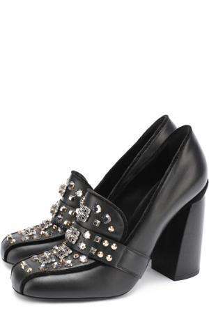 Кожаные туфли со стразами и заклепками на устойчивом каблуке Baldan. Цвет: черный