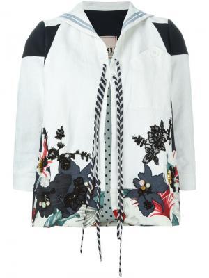 Куртка с цветочной вышивкой Antonio Marras. Цвет: белый